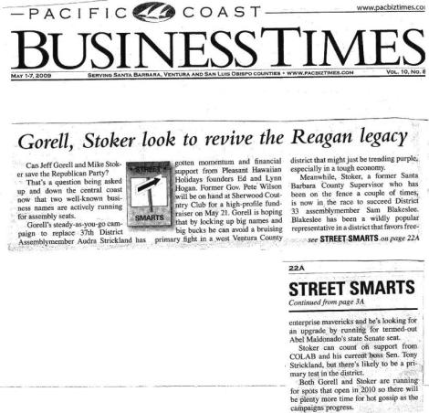 Gorell's Assembly campaign lauded in Pac Biz Times this Week
